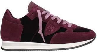 Philippe Model Tropez Velvet Burgundy Sneakers