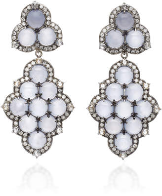 Nam Cho Detachable 18K White Gold Black Rhodium Chalcedony and Diamond Earrings