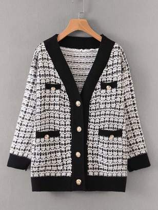 Shein Plaid Button Through Pocket Front Cardigan