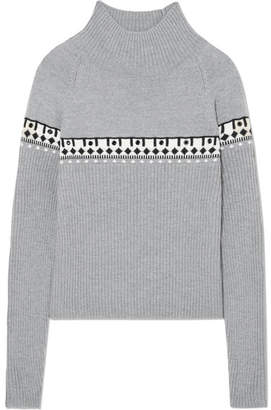 Tomas Maier Eyelet-embellished Intarsia Merino Wool Turtleneck Sweater - Gray
