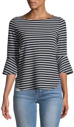 Couture Casual 3/4 Bell Sleeve Striped Blouse
