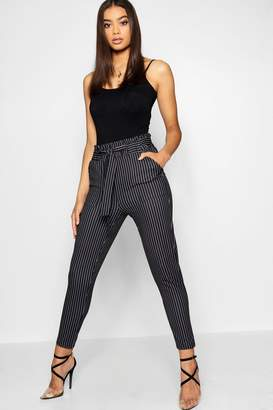 boohoo Stripe Paper Bag Waist Belted Trouser