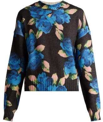 MSGM Floral Print Virgin Wool Sweater - Womens - Blue Multi