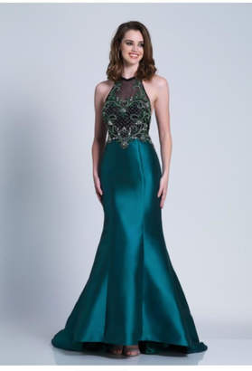 Dave and Johnny Unique Emerald Gown