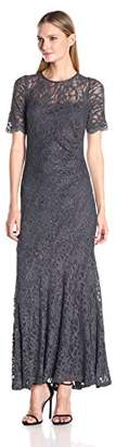 Decode 1.8 Women's Glitter Lace Short Sleeve Mermaid Mother of Bride/Groom Dress with Scallop Sleeve Detail