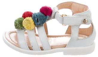 Aquazzura Mini Girls' Pom-Pom Multistrap Sandals