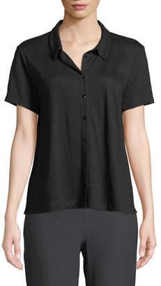 Eileen Fisher Organic Linen Button-Front Top