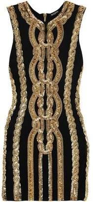 Balmain Embellished Stretch-Jersey Mini Dress