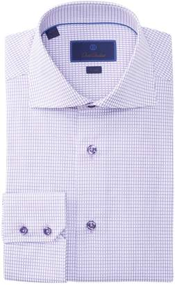 David Donahue Grid Pattern Trim Fit Dress Shirt