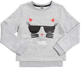 Karl Lagerfeld Choupette Embroidered Cotton Sweatshirt