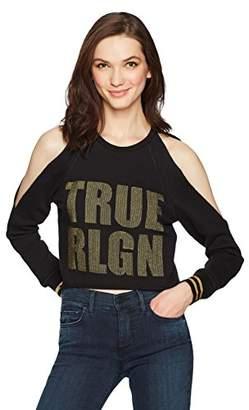 True Religion Women's Logo Cold Shoulder Crop Sweatshirt