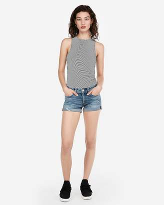 Express Low Rise Rolled Hem Destroyed Stretch+ Denim Shorts