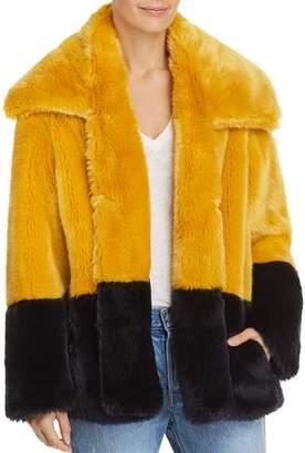 French Connection Sebille Color-Blocked Faux-Fur Jacket