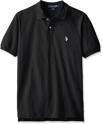 U.S. Polo Assn. Men's Solid Polo With Small Pony, Black/White