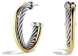 Crossover Small Hoop Earrings in Gold
