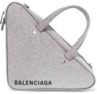 Balenciaga Triangle Duffle Xs Glittered Leather Tote - Silver