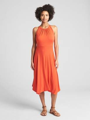 Gap Halter-Neck Handkerchief Midi Dress