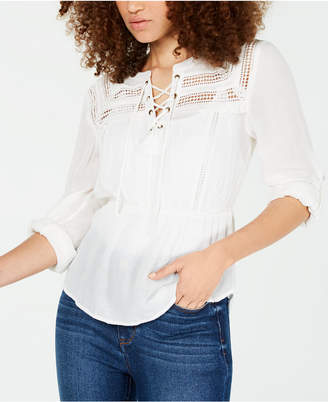 3fac264e American Rag Juniors' Crochet-Trimmed Lace-Up Peasant Blouse