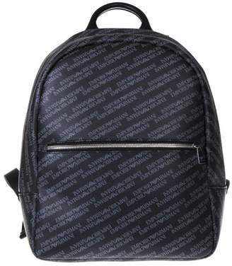 Emporio Armani Grey All Over Branded Backpack In Eco Leather