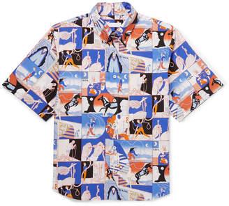 Prada Button-Down Collar Printed Cotton Shirt