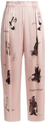 CLAIRE BARROW Dog-print wide-leg silk-satin trousers