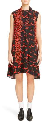 Givenchy Mixed Print Silk Crepe Scarf Collar Trapeze Dress