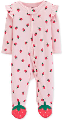 Carter's Carter Baby Girls Strawberry-Print Footed Cotton Pajamas