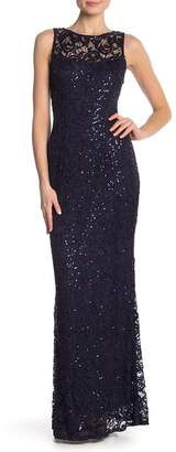 Marina Lace Illusion Sequined Dress