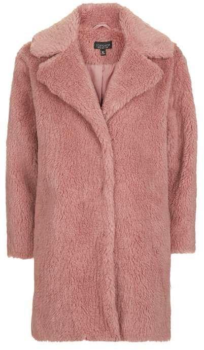 TopshopTopshop Pink casual faux fur coat
