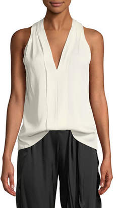 Halston Sleeveless V-Neck Flowy Drape-Back Top