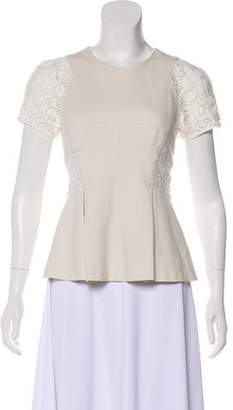 Rebecca Taylor Lace-Trimmed Cap Sleeve Top