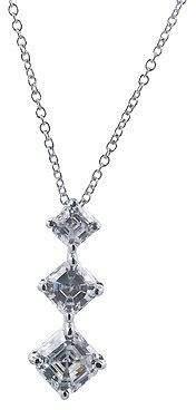 Diamonique 3 Stone Journey Pendant w/ Chain, Platinum Clad