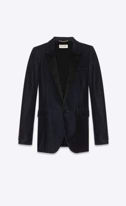 Saint Laurent Tube Tuxedo Jacket In Velours