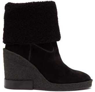 Tod's Shearling Lined Suede Wedge Boots - Womens - Black