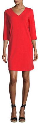 Eileen Fisher 3/4-Sleeve V-Neck Jersey Shift Dress, Plus Size $158 thestylecure.com