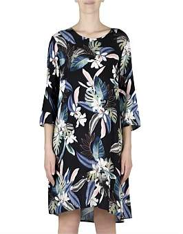 Jump 3/4 Sleeve Palm Print Dress