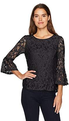 Adrianna Papell Women's Long Bell Sleeve High/Low Peplum Lace Blouse