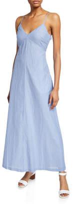 Club Monaco Odessya Striped V-Neck Tie-Back Cotton A-Line Dress
