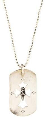 Chrome Hearts Diamond Dagger & Cross Dog Tag Pendant Necklace silver Diamond Dagger & Cross Dog Tag Pendant Necklace
