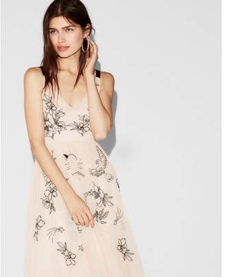 Express floral embellished fit and flare dress