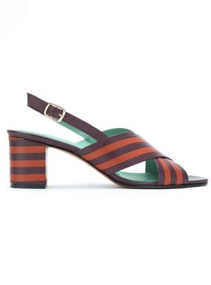 Blue Bird Shoes striped leather sandals