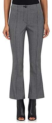 Helmut Lang WOMEN'S HOUNDSTOOTH WOOL-BLEND FLARED CROP PANTS - MELANGE GREY MULTI SIZE 10