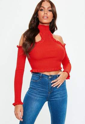 Missguided Red Frill High Neck Cold Shoulder Ribbed Knit Crop Top