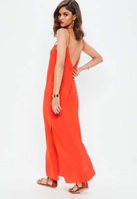 Missguided Orange Plunge Strappy Maxi Dress