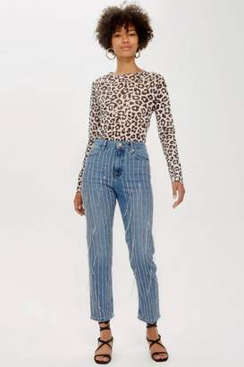Topshop All Over Diamante Straight Leg Jeans