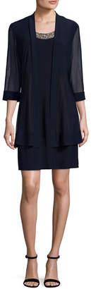 R & M Richards 3/4 Sleeve Embellished Jacket Dress-Petites Short