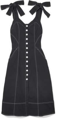 Ulla Johnson Emory Bow-detailed Denim Dress - Black