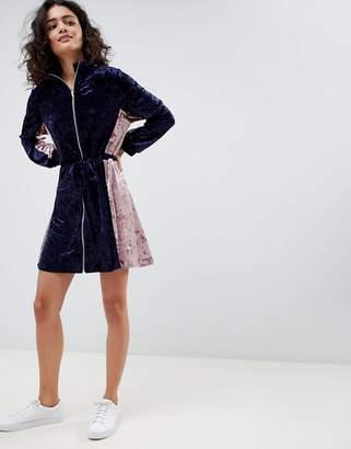 Asos Color Block Velvet Track Dress