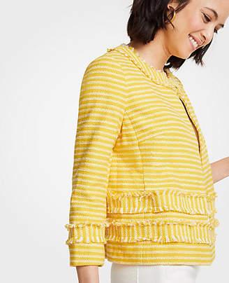 Ann Taylor Striped Fringe Jacket