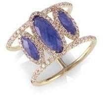 Meira T Sapphire Oval, Diamond& 14K Yellow Gold Ring